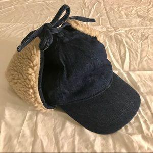 fe066f6ba3f85 Madewell Accessories - Madewell Denim Sherpa Baseball Trapper Cap